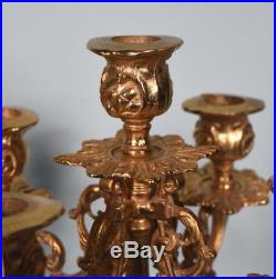 16 Tall Pair of Vintage French Empire Bronze Candelabra Candlesticks