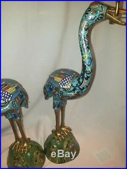 19.5 Vintage Pair Chinese Cloisonne Crane Candlestick Holders MINT Condition