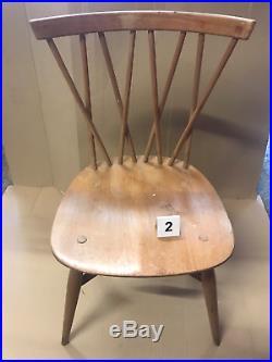 1960 Vintage Ercol Windsor 376 Latticed Candlestick Dining Chair Elm Beech 2