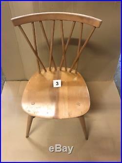 1960 Vintage Ercol Windsor 376 Latticed Candlestick Dining Chair Elm Beech 3