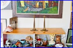 2 Bradley Hubbard Vtg Mid Century Arts Crafts Brass Candle Holder Candlestick