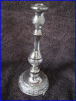 2 Candlesticks Pair 925 Sterling Silver Judaica Vintage Art Israel Living Room