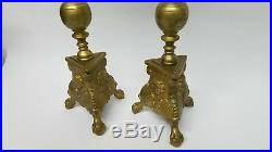 2 Large Vintage 50 Brass Floor Candlesticks Candle Holders Jetmar and Son 1946