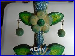 2 Vintage Mexico Pottery Ceramic Clay Folk Art Tree Of Life Candlestick Holders