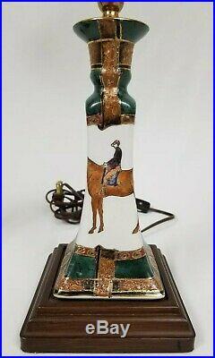 2 Vintage Porcelain Enamel Candlestick Lamps Wood Base Horse Jockey 30 1/4