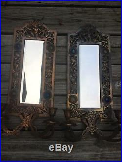 2 Vtg Jeweled Cherub Victorian Mirror Cast Iron Ornate Candle Stick Wall Sconce