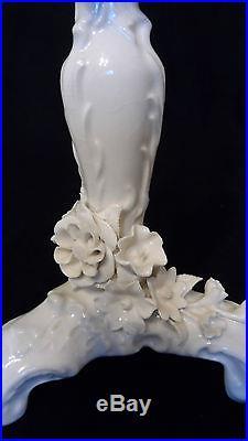 3 Vintage Von Schierholz Porcelain Candlestick Holders Cream on Cream Floral