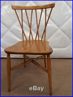 4 Ercol vintage candlestick dining chairs