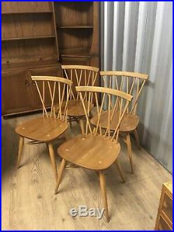 4 X Mid Century Vintage Ercol Candlestick Dining Chairs