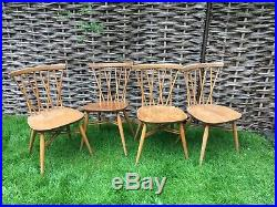 4 x VINTAGE ERCOL LIGHT FINISH WOOD WINDSOR LATTICE CANDLESTICK DINING CHAIRS