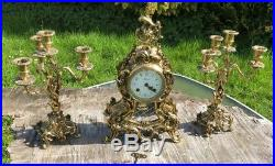 Antique Vintage Hermle Three Pieces Brass Set Clock Mantel and Candlesticks