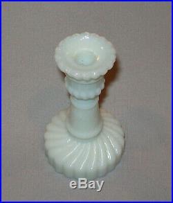 Antique Vtg 19th C 1870s Pair Miniature Pressed Milk Glass Candlestick Holders