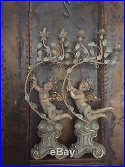 Antique/vintage Large Wood Cherub/ Angel Candlesticks-lamp/bases Restoration
