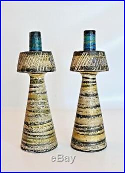 Bitossi Raymor Vtg Mid Century Modern Pottery Rimini Blue Candlesticks Italy