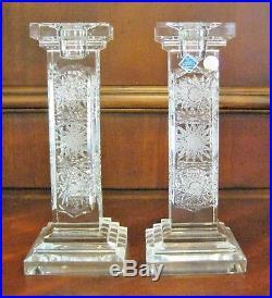 Bohemian Vintage Czech Crystal Hand Cut Pair of 8 Pillar Candlesticks Queenlace