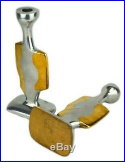 DAVID MARSHALL CANDLESTICKS Vintage Modernist Brutalist Brass Bauhaus 70s Modern