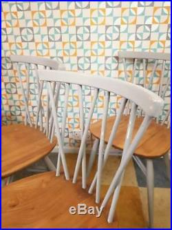 Ercol Set Of 4 Candlestick Dining Chairs Blonde Elm Vintage 60's Mid-Century