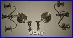 Fancy Pair Vtg Sterling Silver Fisher Convertible Candelabra Candlesticks LD32