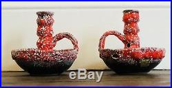 French Vintage Handmade Fat Lava Pottery Candlesticks