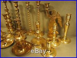 HUGE Lot of 15 Vintage Brass Candlesticks Candle Holders