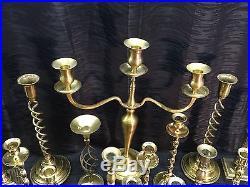 Huge Lot of 25 Vintage Brass Candlestick Holders Wedding Decor 17 Candelabra