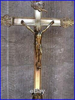Huge Set Antique Vintage Church Altar Standing Cross Crucifix Candlesticks