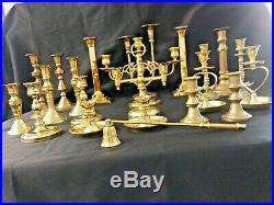 LARGE Lot of 22 Vintage Polished BRASS Candle Holders Candlesticks Wedding Decor
