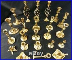 Large Lot of 23 Vintage Brass Candle Holders Candlesticks Polished Wedding Craft