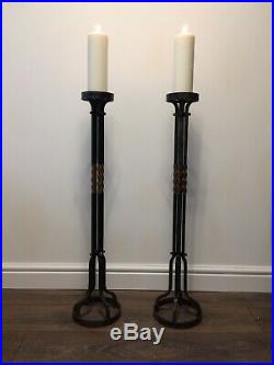 Large floor standing candle sticks antique vintage heavy church clearance