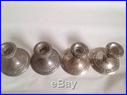 Lot of 4 Vintage GORHAM Weighted Sterling Silver Candlesticks Candelabra