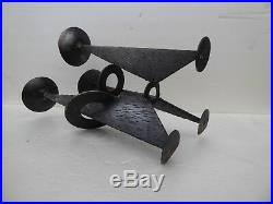 MID Century Candlestick Art Brutalist Vintage Wrought Iron Metal Candle Holder