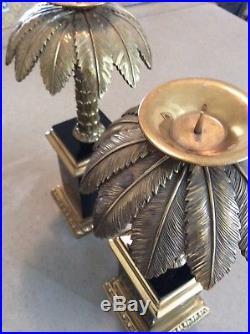 Maitland Smith Candlesticks Black Tessellated Stone Brass Palm Tree VINTAGE