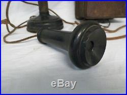 Old Vtg Kellogg Candlestick Telephone withRinger Box Stromberg Carlson Earpiece