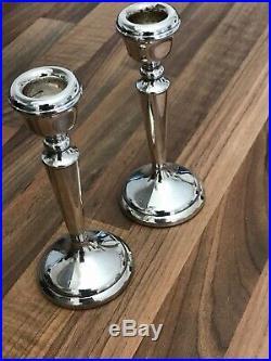 PH VOGEL & CO Vintage Pair Of Hallmarked Silver Candlesticks Birmingham 1976
