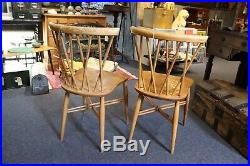 Pair 1960 Ercol Candlestick Windsor Chairs Midcentury Vintage Design