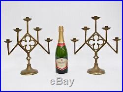 Pair Antique / Vintage Brass Ecclesiastic Gothic Revival Candlesticks Candelabra