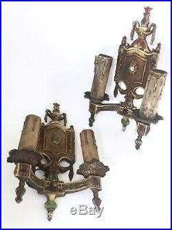 Pair Of 2 Vintage 1920's Deco Cast Iron Candlestick Wall Sconce Light Fixtures