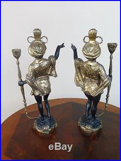 Pair Of Vintage Elegant Bronze Blackamoor Candlesticks, Good Table Decor