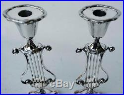 Pair Of Vintage Sheffield Silver Plate Over Copper Oval Lyre Candlesticks 12 T