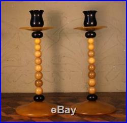 Pair Vintage Art Deco 1930s Butterscotch Bakelite Celluloid Beaded Candlesticks