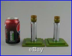 Pair Vintage Art Deco Green Marbled Phenolic Catalin Bakelite Candlesticks 5