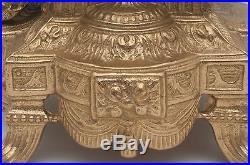 Pair Vintage Brevettato Brass/Bronze Marble Cherub Candelabra/Candlesticks Italy