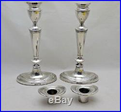Pair Vintage Solid Sterling Silver Regency Style Oval Base Candlesticks 8 Tall