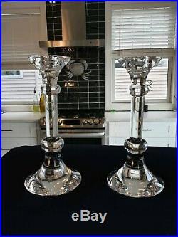 Pair Vintage Val St Lambert Crystal Candlesticks Chand Ingo Clair Maurer Pattern
