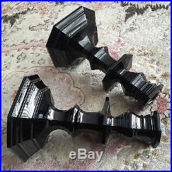 Pair of Rare Vintage Baccarat Zenith Noir Onyx Midnight Crystal Candlesticks