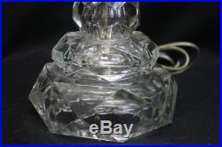 Pair of Vintage Candlestick Cut Glass Boudoir Mantle Buffet Electric Lamps 1930s