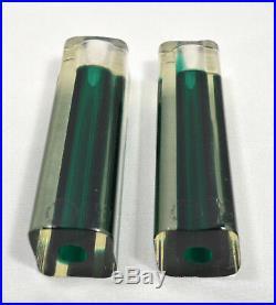 Pair vintage dark green glass candlesticks Murano Italy Vetri vm 002 sommerso