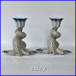 Rare Herend Blue Gold Fishnet Koi Fish Candlesticks Porcelain Candle Holders Vtg