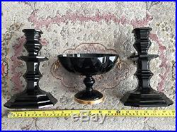 Rare Vintage Baccarat Zenith Noir Onyx Midnight Crystal Candlesticks Set