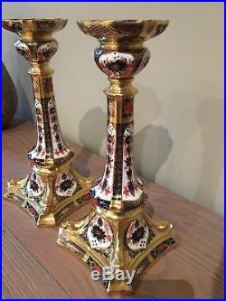 Royal Crown Derby Porcelain Old Imari Pattern 1128 10.5 Candlesticks vintage